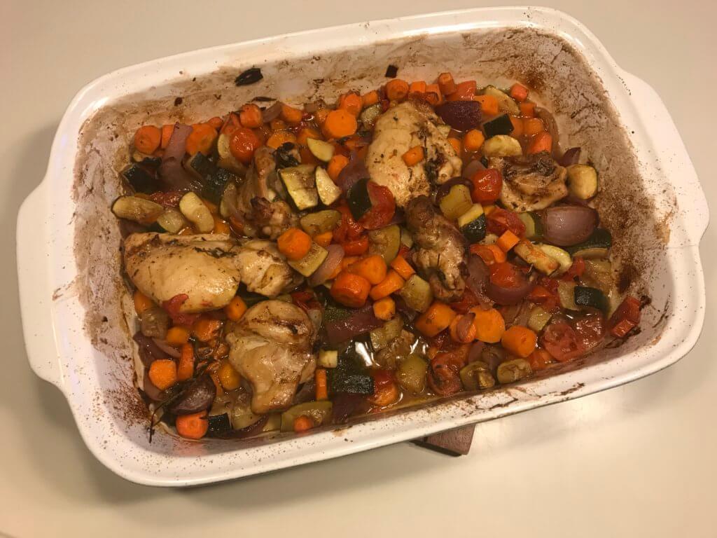 Schnelles Ofen-Huhn, gegart
