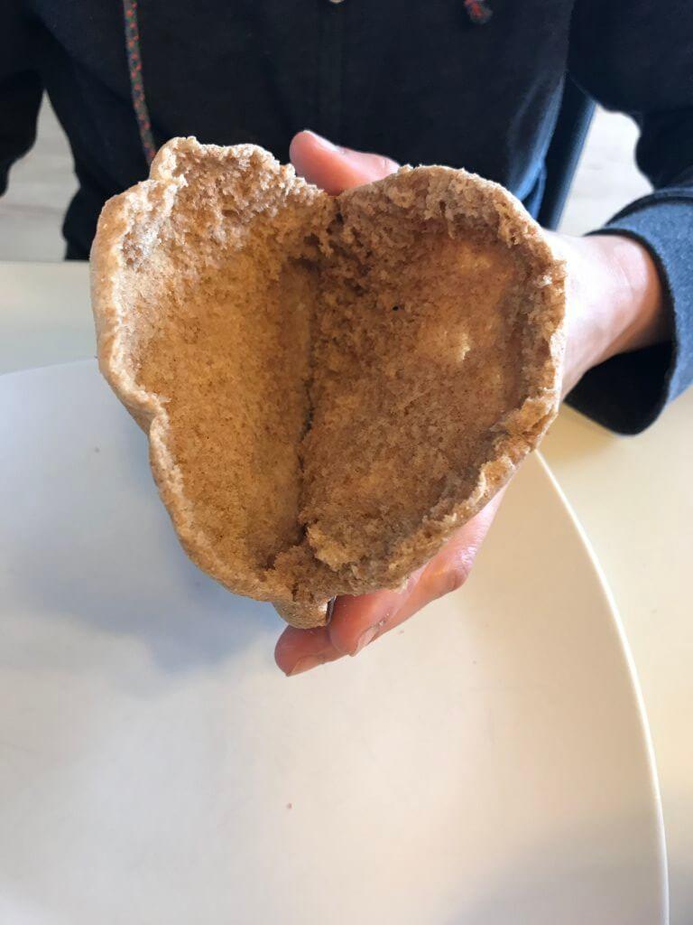 Vollkorn-Pitataschen, geöffnet
